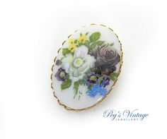 Antique Oval Porcelain Floral//Flower by PegsVintageJewellery
