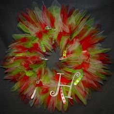 Christmas Holiday Tulle and Ribbon Wreath