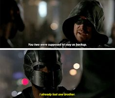 """""""You two were supposed to stay as backup"""" - John and Oliver Arrow Quote, Arrow Cw, Arrow Oliver, Supergirl 2015, Supergirl And Flash, Arrow Season 4, Oliver Queen Felicity Smoak, Arrow Tv Series, Dinah Laurel Lance"""