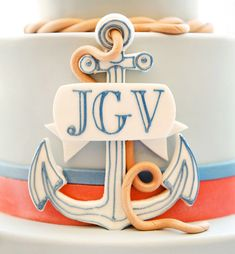 If you're looking for some stylish nautical party inspiration - this beautiful NAUTICAL Christening event by Australian-based Marabous is Nautical Cake, Nautical Party, Nautical Wedding, Anchor Wedding, Navy Party, Monogram Cake, Preppy Monogram, Boy Christening, Boy Baptism