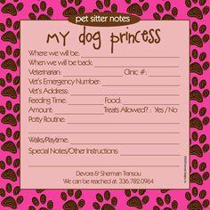 Princess Pet Sitter Notepad