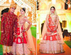 A vermilion lehenga with intricate gold thread work from Indu Studio, Chandni Chowk for Bride Divya of WeddingSutra. Photos Courtesy- Photo Viral