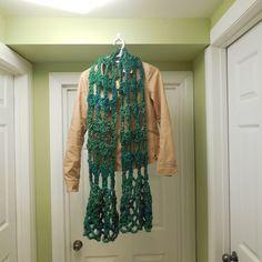 Crocheted Fashion Scarf, Crocheted Scarf, Lacy Scarf, Green Scarf