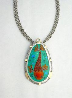 Cloisonne Enamel Koi Fish Necklace  Enamel by GlassEnamelbyJulie