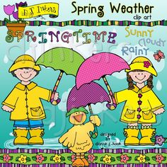 Our darling 'Spring Weather' clip art collection is a splashing good time! We've showered this set with smiles for rainy day fun, teaching weather, and creating things for spring. Images come in black & white and bright spring colors.  spring clip art, weather clip art, spring weather, rain rain go away, rainsuit kids