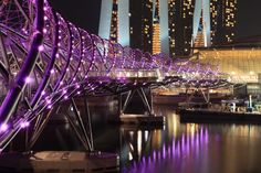 Helix Bridge, Singapore  Modeled after the DNA double helix that encodes the blueprints for life on Earth, the Helix Bridge is a pedestrian walkway in downtown Singapore. It was officially opened in 2010.