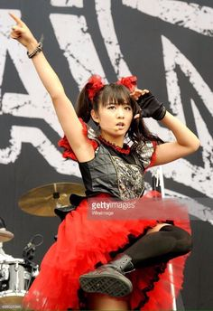 Moametal of Babymetal performs on day 3 of The Leeds Festival at Bramham Park on August 2015 in Leeds, England. (Photo by Shirlaine Forrest/WireImage) Moa Kikuchi Japanese Girl Band, Japanese Female, Moa Kikuchi, Famous Girls, Cute Birds, Girl Bands, Heavy Metal, Tulle, Girly