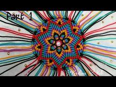 Tutorial Tas Tali Kur Bulat (Part - Round Bag Macrame Tutorial (Part Macrame Colar, Macrame Bag, Macrame Necklace, Macrame Knots, Micro Macrame, Macrame Mirror, Mandala, Flower Embroidery Designs, Round Bag