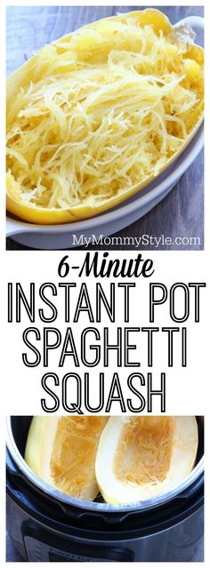 6 Minute Instant Pot Spaghetti Squash I love spaghetti squash, but it can be time consuming to cook. We're going to show you how to make instant pot spaghetti squash in 6 minutes! Vegan Spaghetti Squash, Vegetarian Spaghetti, Spaghetti Squash Pressure Cooker, Pasta Spaghetti, Spagetti Squash Spagetti, Spaghetti Squash Chicken Alfredo, Vegan Pasta, Instant Pot Pressure Cooker, Recipes