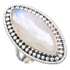 Rainbow Moonstone 925 Sterling Silver Ring Size 7 RING730208