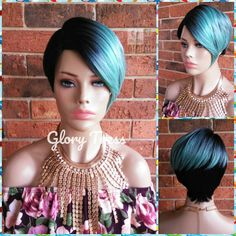 Short Razor Cut Full Wig, Pixie Cut Hairstyle With Long Side Bangs, Ombre Blue Wig, Lace Side Bob Hairstyles For Fine Hair, Pixie Hairstyles, Pixie Haircut, Curly Lace Front Wigs, Straight Lace Front Wigs, Wavy Asymmetrical Bob, Mermaid Wig, Long Side Bangs, Blue Wig