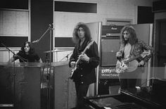 Ian Paice, Ritchie Blackmore and Roger Glover, of British rock group Deep Purple, in a recording studio, London, 29th September 1970.