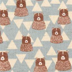 light blue bear triangle Canvas fabric Kokka Japan - Animal Fabric - Fabric - kawaii shop modeS4u