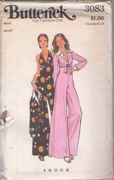 Butterick 3083 Vintage 70's Sewing Pattern FOXY Disco V Neck High Empire Waist, Bare Back Halter Top Jumpsuit, Bell Palazzo Leg, Cropped Tie On Jacket Cover Up