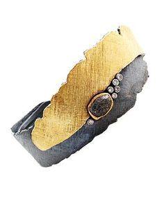 "Davide Bigazzi Lava Cuff Bracelet in sterling silver, 18k yellow gold, raw and white diamonds. 1/2 - 1 1/8"" wide."