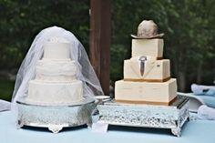 Many groomsmen feel as though, the wedding cake is more for the bride to enjoy. Think of things that your husband-to-be might like. This particular bride chose a cowboy theme cake. Maybe you fiance likes Batman, Wrestling, or Golf. Its a great way to keep them involved and excited.