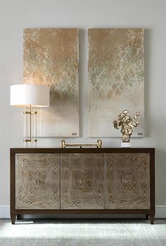 Limited Production Design & Stock:  Grand Wood Grain Art Glass Fronted Credenza * Reverse Painted Art Glass Front *  Alder Case With Mayan Bronze Finish * Inc: 3 Cupboards With Shelving * 38 x 72 x 21 inches  * Only Few Remaining