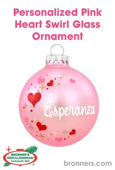 Personalized Pink Heart Swirl Glass Ornament from Bronner's Christmas store of Christmas ornaments and Christmas lights Personalized Ornaments, Sparkles Glitter, Star Shape, Glass Ornaments, Hungary, Valentine Gifts, Christmas Bulbs, Unique Gifts, Hand Painted