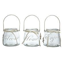 Buy Glass Hurricanes With Text, Assorted Online at johnlewis.com