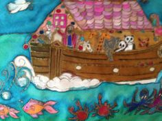 Handpainted Silk Design 'Noahs Ark' by The Silkmaid by thesilkmaid, $45.00