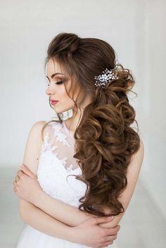 Art4studio side swept long wedding hairstyles