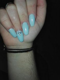Light blue pastel coffin nails iridescent