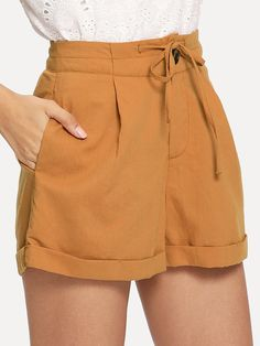 SheIn offers Button Fly Tie Waist Rolled Hem Shorts & more to fit your fashionable needs. Cute Summer Outfits, Cute Outfits, Stylish Outfits, Look Con Short, Yellow Ties, Type Of Pants, Pants For Women, Clothes For Women, Tumblr Outfits
