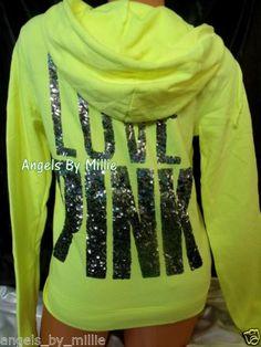 Victoria's Secret Pink Medium M Neon Yellow Bling Funnel Signature Zip Hoodie | eBay