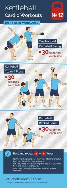 1 of 25 kettlebell cardio workouts. A full body kettlebell circuit that will improve your cardio. Discover 25 kettlebell cardio workouts that will change the way you look and feel. Includes workouts for beginners and those that cannot kettlebell swing. Circuit Kettlebell, Kettlebell Rack, Kettlebell Clean, Kettlebell Challenge, Kettlebell Swings, Kettlebell Benefits, Kettlebell Deadlift, Fitness Workouts, Ace Fitness