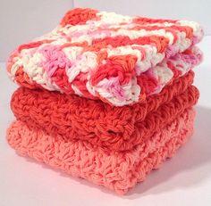 Cotton Crochet Washcloth Set  Creamsicle by DapperCatDesigns, $10.00