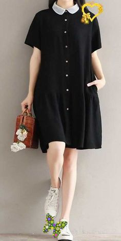 business clothing Women loose fit plus over size pocket stand collar dress fashion trendy casual #unbranded<br> Casual Summer Dresses, Trendy Dresses, Casual Outfits, Fashion Dresses, Short Sleeve Dresses, Dress Summer, Dress Casual, Summer Clothes, Fashion Clothes