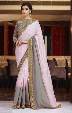 Pink and Grey Colour Silk Saree With Heavy Work Designer Blouse