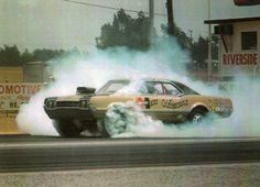 """just muscle.""""bad ass front wheel burn-out"""" Old Race Cars, Us Cars, Hurst Oldsmobile, Oldsmobile Cutlass, Nhra Drag Racing, Auto Racing, Drag Racing Wheels, Vintage Race Car, Four Wheel Drive"""