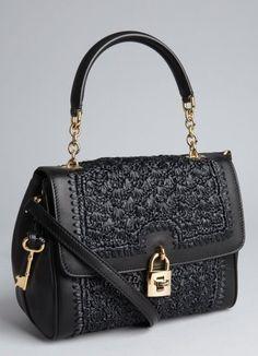Dolce & Gabbana Black Leather And Raffia Convertible Padlock Tote