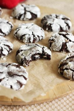 Peppermint Chip Chocolate Crinkle Cookies