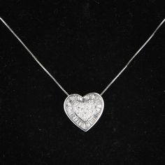 Diamond Heart Pendant Necklace 14 Karat White Gold Vintage Fine Jewelry Heirloom