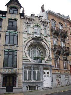 Art nouveau windows, house, Brussels