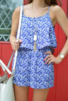 Cutest blue and white patterned romper