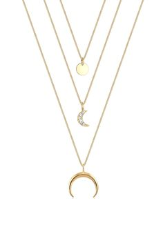 Gold plated lovely layer necklace with trendy moons by Elli