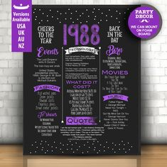 Chalkboard 30th birthday sign, 30 years ago poster, 30 birthday chalkboard sign, 30th birthday chalk board, 1988 birthday poster | DIGITAL by LUCIAandLUCIANA on Etsy