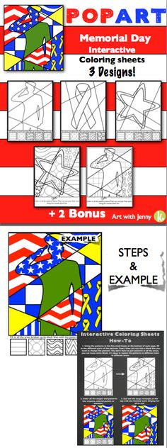 Included in this lesson are 3 memorial day interactive coloring sheets that allow students to design their own pop art memorial day pictures and 2 pattern filled pop art coloring sheets!