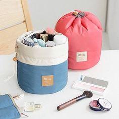 New Arrival Barrel Shaped Travel Cosmetic Bag Nylon High Capacity Drawstring…