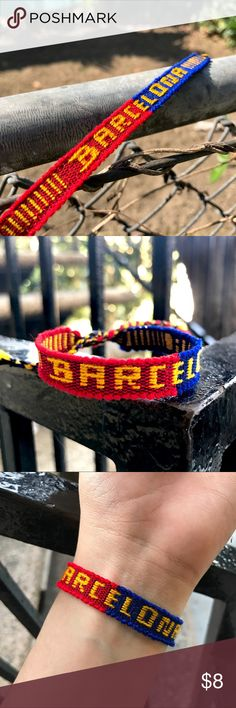 """Barcelona Team Woven Bracelet 10% DISCOUNT USING """"ADD TO BUNDLE"""" BUTTON ⇨ Get a FREE Bracelet!  •Handmade using a loom by skilled Ecuadorian  artisans!  •Handwoven with red, yellow, blue & black wool thread. (Very soft & light weight feel on wrist)  •ⓢⓘⓩⓔ: 5 in. up to 6.5 in. around wrist  •Coachella/soccer/fútbol/Spain/Leo Messi/boho//trendy Jewelry Bracelets"""