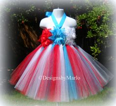 Red white blue patriotic tutu dress 2T 3T Tulle by Designsbymarlo, $39.50