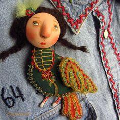 """Брошки """"Птички-счастья"""" - абстрактный,брошь птица,брошь текстильная,подарок девушке"""