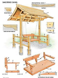 Sheltered swing Backyard Projects, Outdoor Projects, Garden Projects, Home Projects, Garden Furniture, Wood Furniture, Arbor Swing, Garden Structures, Building Plans