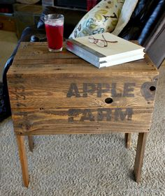 crate, stencils, table, salvaged wood, beyond the picket fence, http://bec4-beyondthepicketfence.blogspot.com/2015/04/apple-farm-crate-table.html