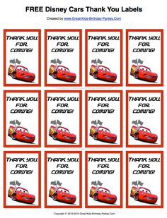 Free Disney Cars Thank You Labels.  Print them on sticker paper or card stock for your party favors.