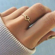 Ella Cute Dainty Simple Minimalist Heart Ring - Simple Dainty Cute Heart Outline Minimalist Ring Fashion Jewelry for Women for Teen Girls – www. Rings For Girls, Wedding Rings For Women, Ring Set, Ring Verlobung, Fashion Rings, Fashion Jewelry, Women Jewelry, Gold Fashion, Fashion 2020