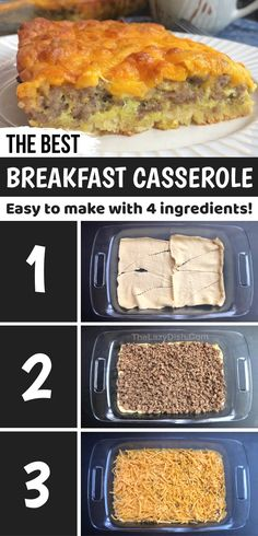The BEST 4 Ingredient Sausage Breakfast Casserole - The Lazy Dish Best Breakfast Casserole, Baked Breakfast Recipes, What's For Breakfast, Sausage Breakfast, Breakfast Dishes, Easy Casserole Recipes, Me Time, Cooking Recipes, Yummy Food